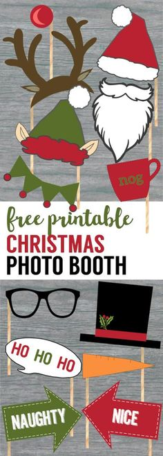 Free Christmas Photo Booth Props Printable. Easy DIY Christmas photo booth props free printable for your Christmas party fun. Holiday photo booth ideas. #papertraildesign #Christmasparty