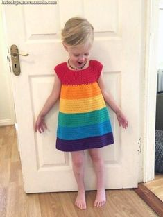 Rainbow Dress - Free Pattern (Beautiful Skills - Crochet Knitting Quilting) - - Rainbow Dress – Free Pattern (Beautiful Skills – Crochet Knitting Quilting) – for beginners blanket easy Crochet Toddler Dress, Crochet Girls, Crochet Baby Clothes, Crochet For Kids, Crochet Dress Girl, Crochet Dresses, Crochet Children, Crochet Summer, Knit Dress