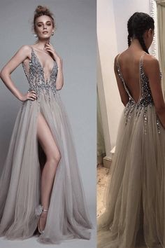 Outlet Engrossing Grey Prom Dresses, Long Prom Dresses, Rhinestone Prom Dresses, Floor-length Prom Dresses #promdresses #promdresseslong #eveningdresses #tulepromdresses