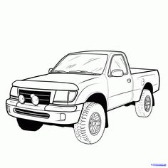 how to draw a pickup truck, pickup truck step 19