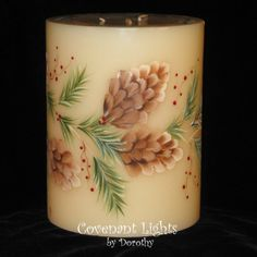 3wick HAND PAINTED Pine Cone Candle by CovenantLights on Etsy, $20.00