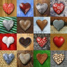 Foto s van hart vormige dingen gemaakt van steen metaal en hout op verschillende achtergronden  Stockfoto