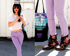 Floral Dr. Martens  (by Natalie Liao) http://lookbook.nu/look/3358977-Floral-Dr-Martens  Cute. The docs tough up the outfit but the florals keep them from being too butch for the pastels