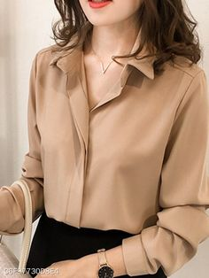 Turn Down Collar Plain Long Sleeve Blouse Summer Work Outfits, Trendy Outfits, Fashion Outfits, Fashion Trends, Womens Fashion, Latest Fashion, Trendy Fashion, Fashion Shoes, Cheap Womens Tops