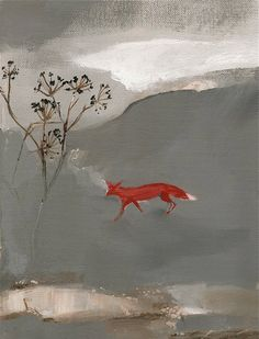 A Bright red fox flashes through the watery grey landscape.    Giclee print made professionally onto archival acid free thick 310gsm paper. From an