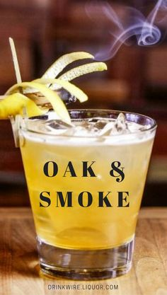 A Smokin' Variation on the Whiskey Sour Stingray Sushi in Phoenix serves the Oak & Smoke cocktail. This drink is a variation of the whiskey sour, mixing bourbon, lemon juice and ho Smoked Cocktails, Bourbon Cocktails, Winter Cocktails, Whiskey Cocktails, Vodka Drinks, Cocktail Drinks, Fun Drinks, Yummy Drinks, Cocktail Recipes