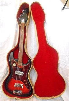 Vintage 1960's HARMONY ELECTRIC BASS H-25 GUITAR w/ Original Case - Sunburst #Harmony