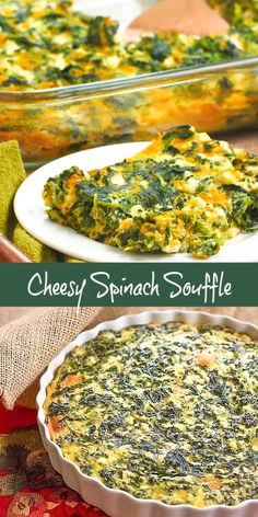 Cheesy Spinach Souffle - An easy cheesy spinach casserole that makes a terrific side dish Perfect for the holidays sidedish Thanksgiving souffle spinach spinachcasserole holidaysidedish cheddar easyrecipe thatskinnychickcanbake Healthy Side Dishes, Vegetable Side Dishes, Side Dish Recipes, Healthy Dinner Recipes, Vegetarian Recipes, Cooking Recipes, Side Dishes Easy, Spinach Side Dishes, Ketogenic Side Dishes