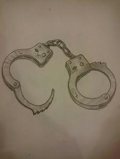Tattoo Sketches, Tattoo Drawings, Pencil Drawings, Art Drawings, Handcuffs Drawing, Prison Drawings, Pelvic Tattoos, Police Tattoo, Cholo Art