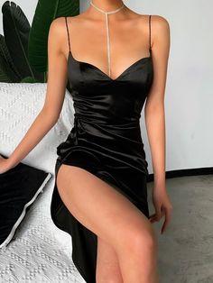 Fleepmart Sexy Dress Backless Slit Hem Elegant Party Spaghetti Straps Solid Fit and Flare Summer Ladies Sleeveless Midi Dress