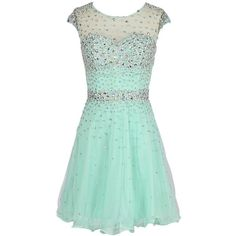 Dresstells Short Organza Dress with Beadings Homecoming Dress ($100) ❤ liked on Polyvore featuring dresses, short beaded cocktail dresses, short dresses, short organza dress, beading dress and green beaded dress