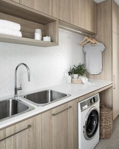 34 Fabulous Scandinavian Laundry Room Design Ideas - Its one of the most used rooms in the house but it never gets a makeover. What room is it? The laundry room. Almost every home has a laundry room and . Modern Laundry Rooms, Laundry Room Inspiration, Laundry Area, Laundry Room Organization, Hanging Rail, Laundry Room Design, Modern Minimalist, Storage Spaces, Living Room Designs