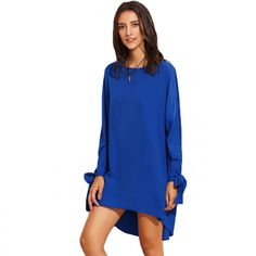Autumn Short Basic Dresses For Women Royal Blue Round neck Tie Cuff Bow Long Sleeve High Low Straight Dress