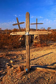 Three Crosses in the cemetery at Terlingua Ghost Town, in the Big Bend area of the west TX, USA