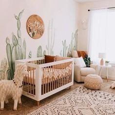 No prickly feelings over this sweet nursery! Loving the warm boho feel and fun c… No prickly feelings over this sweet nursery! Loving the warm boho feel and fun cactuc mural🌵. TAP image to shop best-selling crib! Baby Nursery Decor, Project Nursery, Nursery Neutral, Baby Decor, Nursery Room, Jungle Nursery Boy, Boho Nursery, Simple Baby Nursery, Western Nursery