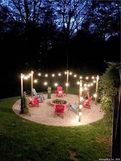 Diy Fire Pit, Fire Pit Backyard, Backyard Patio, Backyard Landscaping, Landscaping Ideas, Backyard Seating, Pavers Patio, Patio Roof, Fire Pit Plans