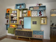 Reuse, Repurpose, Recycle and Reclaim — various storage containers / shelving for wall of art classroom