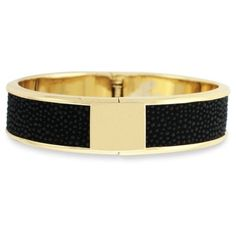 Cole Haan Black Gold-Tone Leather Bangle Bracelet ($108) ❤ liked on Polyvore featuring jewelry, bracelets, black, hinged bangle, bangle bracelet, black jet jewelry, stackers jewelry and gold tone bangles