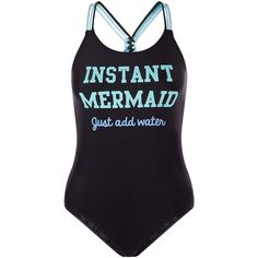 New Look Teens Black Instant Mermaid Print Swimsuit ($17) ❤ liked on Polyvore featuring swimwear, one-piece swimsuits, swimsuits, black, swim wear, bathing suit, print swimsuit, swim suits, bathing suit swimwear and one piece swimsuit