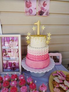 Pink and Gold Ombre Star Tiered Cake, and Pink Ombre Rosette Smash Cake, LOVE the cupcakes and other little details. Baby Girl 1st Birthday, Gold Birthday, Princess Birthday, Birthday Bash, First Birthday Parties, First Birthdays, Birthday Ideas, Cupcakes, Gold Party