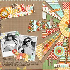 My Sunshine by Juli Fish, for TOTB Challenge at The Sweet Shoppe. Using You Are My Sunshine digital kit by Jady Day Studios. Paper piecing, sun, beach, polaroid, black and white photo, kraft background, patterned papers, buttons, word art, borders, teen, tween, summer