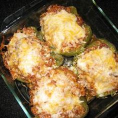 240 calories only - and so delicious and filling! Great stuffed peppers recipe