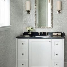 Black and Silver Powder Room with Silver Ikat Wallpaper