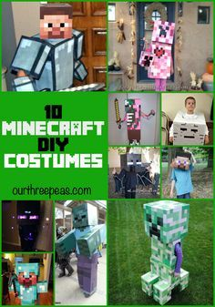 Have a Minecraft lover in your house? Then they will love these DIY Minecraft costume ideas for Halloween! Our Three Peas Minecraft Halloween Costume, Minecraft Costumes, Family Halloween Costumes, Boy Costumes, Holidays Halloween, Halloween Kids, Halloween Crafts, Costume Ideas, Diy Costumes For Boys