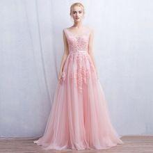 Robe De Soirée Vestido de festa New Vindo Decote Em V com Lace Apliques Longo Partido Tulle Vestidos De Noite 2017 Rosa Azul Marinho cinza alishoppbrasil