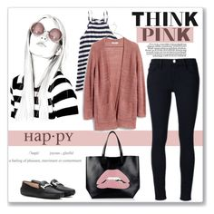 """Think Pink"" by ldtrollinger ❤ liked on Polyvore featuring Aéropostale, ELSE, Madewell, Tod's, RED Valentino and Frame Denim"