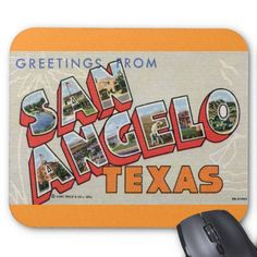 Greetings from San Angelo, Texas Mousepads. The current city of San Angelo was founded by European Americans in 1867, when the United States constructed Fort Concho as one of a series of new forts designed to protect the frontier from hostile threats. The fort was home to cavalry, infantry, and the famous Black Cavalry, otherwise known as Buffalo Soldiers by Indigenous Americans.