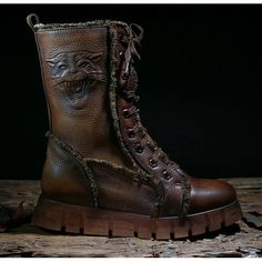 Brown Leather Flat Modern Vintage Fashion Military Snow Boots Women SKU-11405719