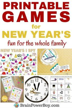 Want a great way to ring in the new year? Try these wonderful New Year's printable games! Bingo scavenger hunt pin the hands on the clock (so clever) I spy word search silly fill-in and even a remembrance game. Fun fun and more fun for the whole fam New Years Eve Games, Kids New Years Eve, New Years Party, New Years Eve Party Ideas For Family, New Year's Eve Activities, Activities For Boys, Games For Kids, Enrichment Activities, Preschool Themes