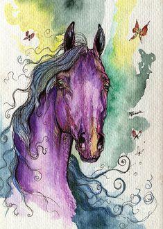 watercolor paintings of horses | Purple Horse Painting by Angel Tarantella - Purple Horse Fine Art ...