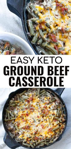 This easy recipe for keto ground beef casserole with green beans is the perfect way to make a hearty low carb dinner for the family or for meal prep.It combines lean ground beef, green beans, cream cheese and is topped with shredded cheese then baked in a one skillet casserole. Beef And Green Beans Recipe, Green Bean Recipes, Beef Casserole Recipes, Ground Beef Casserole, Bacon Recipes, Keto Recipes, Ground Beef Recipes For Dinner, Low Carb Dinner Recipes