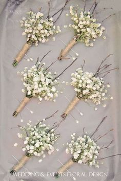 gypsophila baby's breath boutonniere - like the twigs and lightness of this style (not overloaded with baby's breath) Babys Breath Boutonniere, Boutonnieres, Babies Breath Bouquet, Babies Breath Wedding, Babies Breath Centerpiece, Feather Boutonniere, Dream Wedding, Wedding Day, Wedding Events