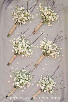 gypsophila baby's breath boutonniere / http://www.himisspuff.com/rustic-babys-breath-wedding-ideas/9/