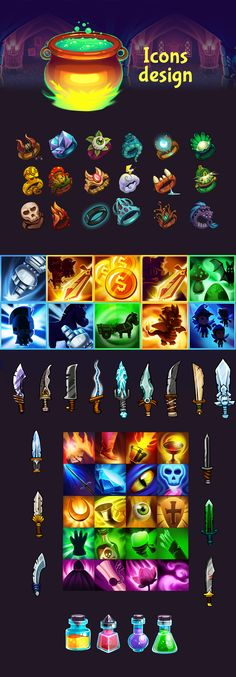 Development of character, icons and elements design for game tap knignt