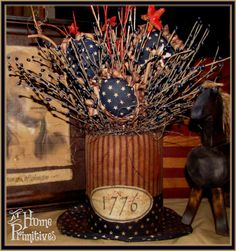 Primitive Americana Top Hat - I made the hat and the flowers that are tucked in!