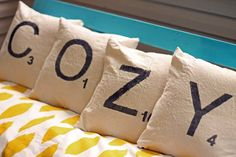 DIY Scrabble Letter Pillows From Drop Clothes - I wanted to add something fun to our front porch, being outside they needed to be easy to wash. Using milk paint…