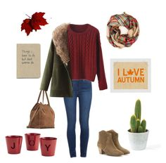 """I <3 Autum"" by ainhoae on Polyvore featuring moda, Paige Denim, Isabel Marant, Zara, JVL, Crate and Barrel, Fall, burgundy, warm y suedeboots"