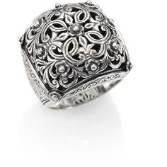 Konstantino Classics Sterling Silver Floral Cushion Ring ($290) ❤ liked on Polyvore
