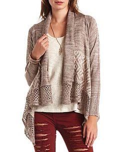 Charlotte Russe Geo-Aztec Cascade Cardigan Sweater Size L ...