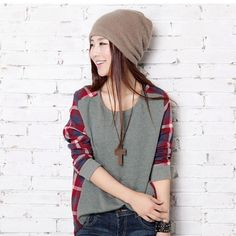 Plaid O Neck Loose Pullover Women's Casual Sweatshirt