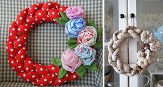 diy-napad-navod-latkovy-pleteny-veniec-010 Pom Pom Wreath, Felt Wreath, Fabric Wreath, Diy Wreath, Easter Wreaths, Christmas Wreaths, Christmas Crafts, Christmas Ornaments, Paper Flowers Diy