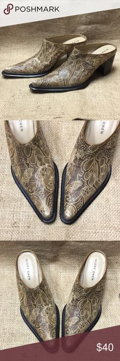 🌸#8081 Glory Chen Pointed Toe Loafers Brown and tan Glory Chen brand Pointed/closed toe Paisley design Thick heel Size 9M Worn, see photos.   Thank you for stopping by Magpies and Magnolias Boutique's Poshmark closet! Please ask questions and feel free to make offers, we are willing to negotiate. Glory Chen Shoes Heels