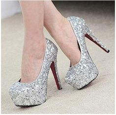 Free shipping 2013 wedding party shoes red bottom high heel shoes women's silver glitter pumps $45.00