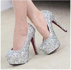 Details about Silver Glitter High Heel Round Toe Platform Pump ...