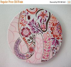 SALE - Mouse Pad mousepad / Mat - round - Pretty pink Elephant - Computer Accessories Geekery Custom Desk Coworker Gifts Office Gifts