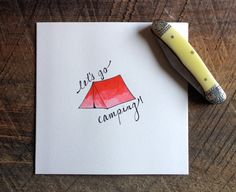 """Handpainted """"let's go camping!"""" Card by minimintery #etsy"""